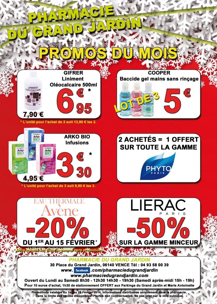 Flyer - Promotions Février 2014 Pharmacie du Grand Jardin 06140 Vence Alpes Maritimes